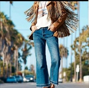 Free People || NWT Jacob wide raw hem button fly